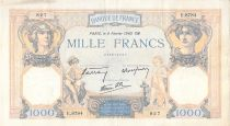 France 1000 Francs Ceres and Mercury - 08-02-1940 Serial E.8784 - F to VF