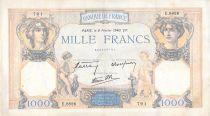 France 1000 Francs Ceres and Mercury - 08-02-1940 Serial E.8826 - F+