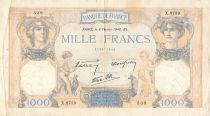 France 1000 Francs Ceres and Mercury - 08-02-1940 Serial X.8759 - VG to F