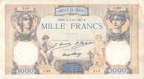 France 1000 Francs Ceres and Mercury - 08-06-1927 Serial J.292 - F to VF