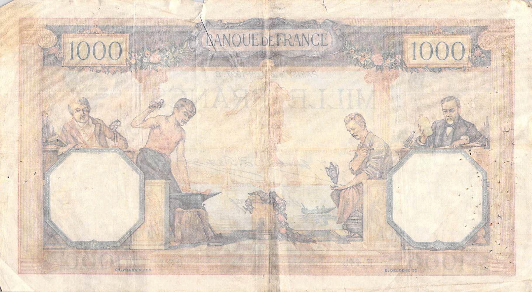 France 1000 Francs Ceres and Mercury - 08-08-1927 Serial F.443 - F+