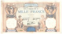 France 1000 Francs Ceres and Mercury - 08-12-1939 Serial G.8449 - VF