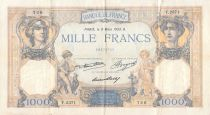 France 1000 Francs Ceres and Mercury - 09-03-1933 Serial Y.2371 - F+