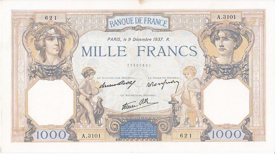 France 1000 Francs Ceres and Mercury - 09/12/1937 Serial A3101 - 621