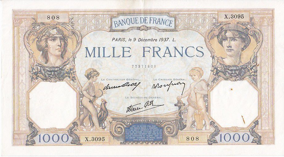 France 1000 Francs Ceres and Mercury - 09/12/1937 Serial X3095