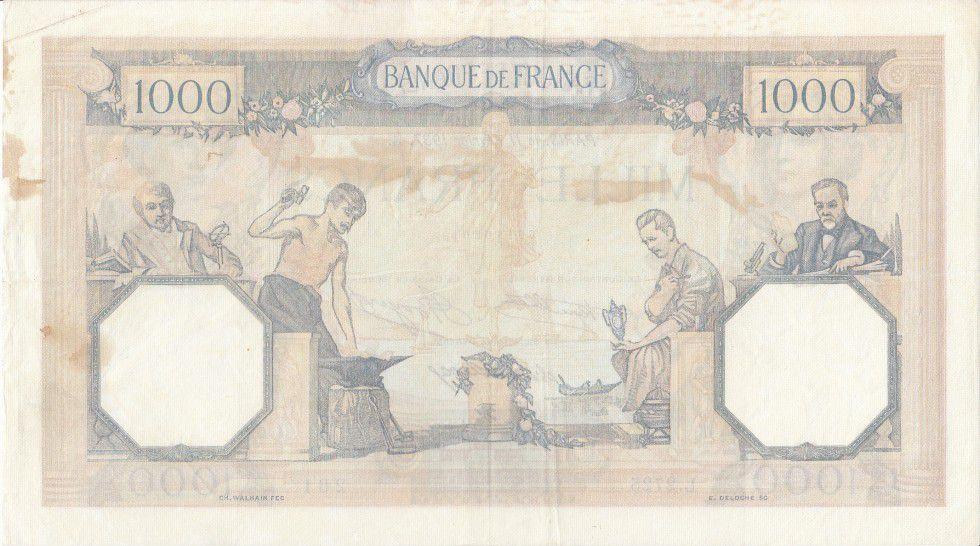 France 1000 Francs Ceres and Mercury - 11-02-1937 Serial L.2725