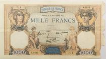 France 1000 Francs Ceres and Mercury - 11-04-1940 Serial A.9252 - G+