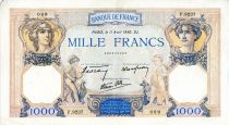 France 1000 Francs Ceres and Mercury - 11/04/1940 Serial F.9237  - VF