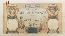 France 1000 Francs Ceres and Mercury - 11-04-1940 Serial G.9439 - VF