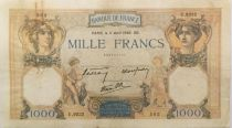 France 1000 Francs Ceres and Mercury - 11-04-1940 Serial U.9232 - F+