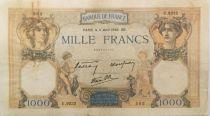 France 1000 Francs Ceres and Mercury - 11-04-1940 Serial U.9232 - F+