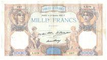 France 1000 Francs Ceres and Mercury - 13-10-1932 Serial A.2178 - F+