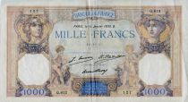 France 1000 Francs Ceres and Mercury - 14-01-1930 Serial Q.812 - VF