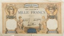 France 1000 Francs Ceres and Mercury - 14-04-1938 Serial D.3217- G+