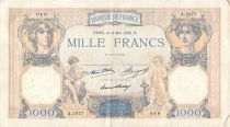 France 1000 Francs Ceres and Mercury - 14-05-1936 Serial A.2477 - VF