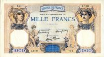 France 1000 Francs Ceres and Mercury - 14/09/1939 Serial G.7128  - VF