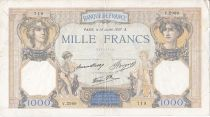France 1000 Francs Ceres and Mercury - 15/07/1937 Serial V2989