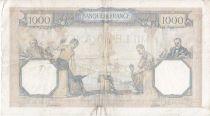 France 1000 Francs Ceres and Mercury - 15/07/1937 Serial V2989