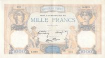 France 1000 Francs Ceres and Mercury - 16-11-1939 Serial Q.8301 - VF