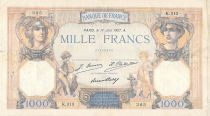 France 1000 Francs Ceres and Mercury - 17-06-1927 Serial K.313 - F+