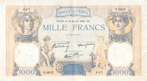France 1000 Francs Ceres and Mercury - 18-01-1940 Serial N.8652 - F+
