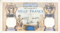 France 1000 Francs Ceres and Mercury - 18/07/1940 Serial C.10250  - VF