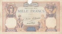 France 1000 Francs Ceres and Mercury - 18-08-1927 Serial C.467 - VG to F