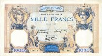 France 1000 Francs Ceres and Mercury - 20/06/1940 Serial O.10117  - VF