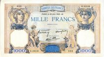 France 1000 Francs Ceres and Mercury - 20/06/1940 Serial O.10118  - VF