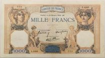 France 1000 Francs Ceres and Mercury - 20-10-1938 Serial E.4445 - VF