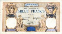 France 1000 Francs Ceres and Mercury - 20/10/1938 Serial F.4651 - VF