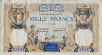 France 1000 Francs Ceres and Mercury - 20-10-1938 Serial L.4261 - F