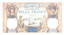 France 1000 Francs Ceres and Mercury - 20-10-1938 Serial M.4451 - XF