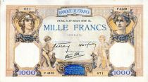 France 1000 Francs Ceres and Mercury - 20/10/1938 Serial P.4439 - VF
