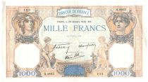 France 1000 Francs Ceres and Mercury - 20-10-1938 Serial Q.4402 - VF