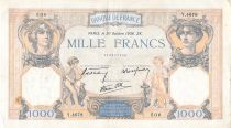 France 1000 Francs Ceres and Mercury - 20-10-1938 Serial Y.4678 - F to VF