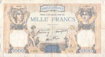 France 1000 Francs Ceres and Mercury - 20-10-1938 Serial Z.4273 - F+