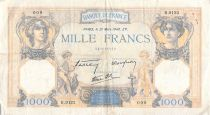 France 1000 Francs Ceres and Mercury - 21-03-1940 Serial R.9123 - F to VF
