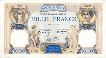France 1000 Francs Ceres and Mercury - 21/09/1939 Serial L.7837  - VF