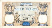 France 1000 Francs Ceres and Mercury - 21/09/1939 Serial V.7857  - VF