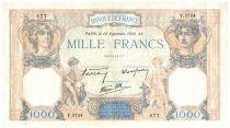 France 1000 Francs Ceres and Mercury - 22-09-1938 Serial V.3574 - VF