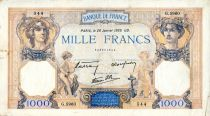France 1000 Francs Ceres and Mercury - 26/01/1939 Serial G.5960 - VF