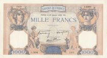 France 1000 Francs Ceres and Mercury - 26-01-1939 Serial J.5994 - XF