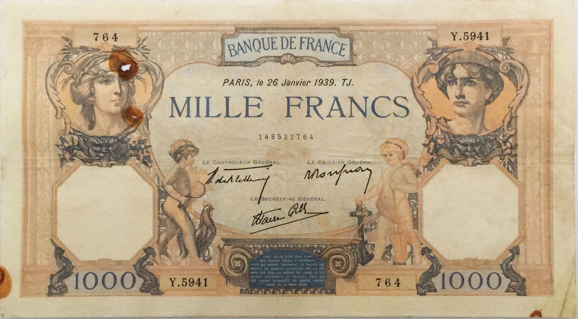 France 1000 Francs Ceres and Mercury - 26-01-1939 Serial Y.5941 - VF