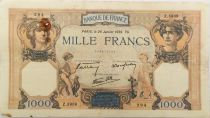 France 1000 Francs Ceres and Mercury - 26-01-1939 Serial Z.5939 - F to VF
