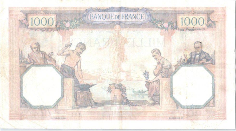 France 1000 Francs Ceres and Mercury - 26-10-1927 F.642