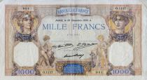 France 1000 Francs Ceres and Mercury - 26-12-1930 Serial O.1117 - VF