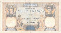 France 1000 Francs Ceres and Mercury - 27-05-1937 Serial E.2897 - F+