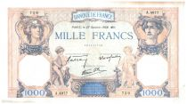 France 1000 Francs Ceres and Mercury - 27/10/1938 Serial A.4977 - VF