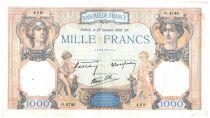 France 1000 Francs Ceres and Mercury - 27/10/1938 Serial O.4746 - VF
